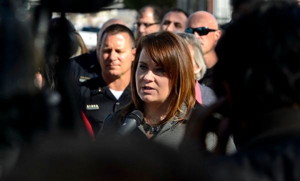 Steve Griffin   The Salt Lake Tribune South Salt Lake Mayor Cherie Wood talks with the media stating that the two homeless shelter site finalists in their borders don't meet the criteria sought by the county and state during a press conference at Woodrow Wilson Elementary South Salt Lake City, Utah Monday March 13, 2017.