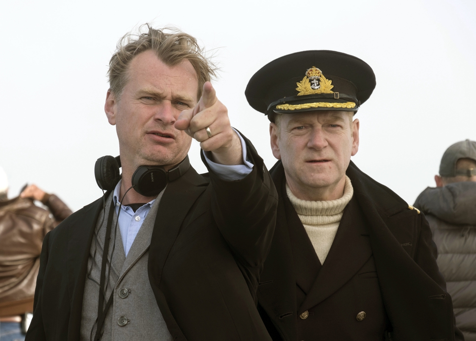 This image released by Warner Bros. Pictures shows director Christopher Nolan, left, on the set of Dunkirk with actor Kenneth Branagh. Nolan was nominated for an Oscar for best director, Tuesday, Jan. 23, 2018. The 90th Oscars will air live on ABC on Sunday, March 4. (Melinda Sue Gordon/Warner Bros. Pictures via AP)