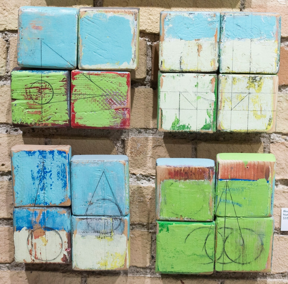 (Rick Egan   The Salt Lake Tribune) Block art by Nathan Mulford for sale at the Downtown Artist Collective. The collective's holiday market features juried work from about 30 artists, including paintings, pen and ink drawings, landscape photography, stickers, journals, pins, ornaments and other novelties. The gallery is at 100 South 258 East, Salt Lake City.