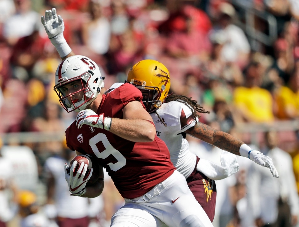 Stanford tight end Dalton Schultz (9) during the first half of an NCAA college football game against Arizona State Saturday, Sept. 30, 2017, in Stanford, Calif. (AP Photo/Marcio Jose Sanchez)