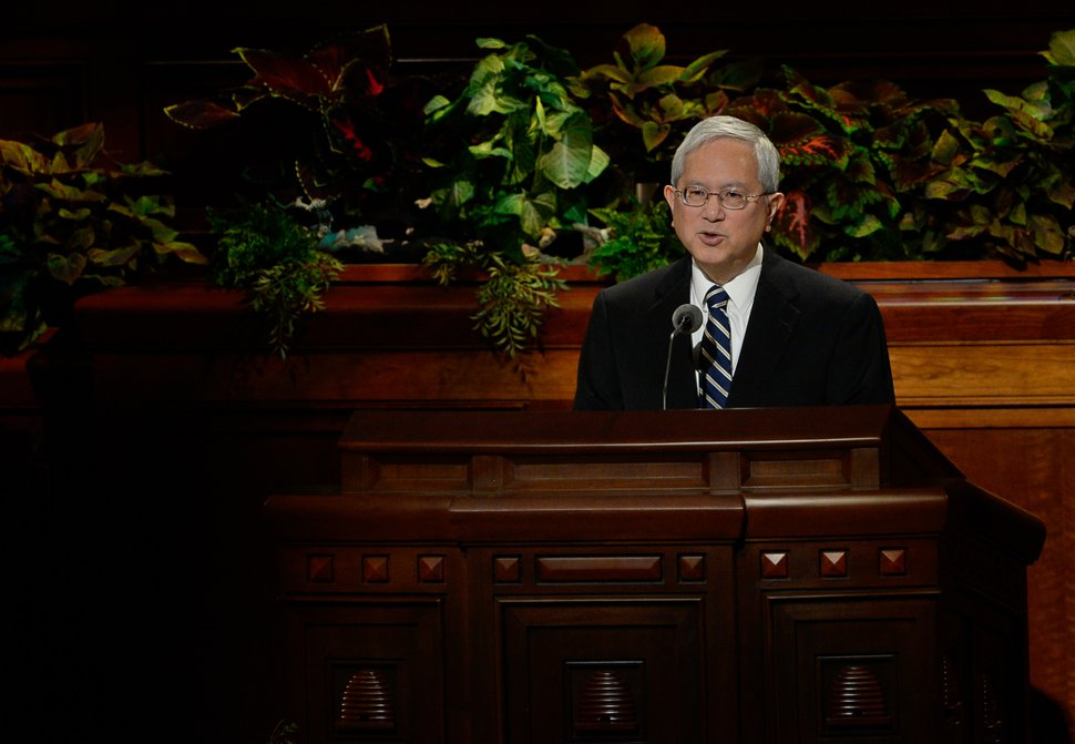 (Francisco Kjolseth | The Salt Lake Tribune) Gerrit W. Gong, a member of the Quorum of the Twelve Apostles speaks during the 189th Semiannual General Conference of The Church of Jesus Christ of Latter-day Saints in the Conference Center in Salt Lake City on Sunday, Oct. 6, 2019.