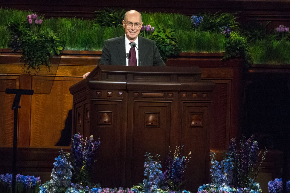 Chris Detrick | The Salt Lake Tribune President Henry B. Eyring, first counselor in the First Presidency, speaks during the morning session of the 186th LDS General Conference at the Conference Center in Salt Lake City Saturday April 2, 2016.
