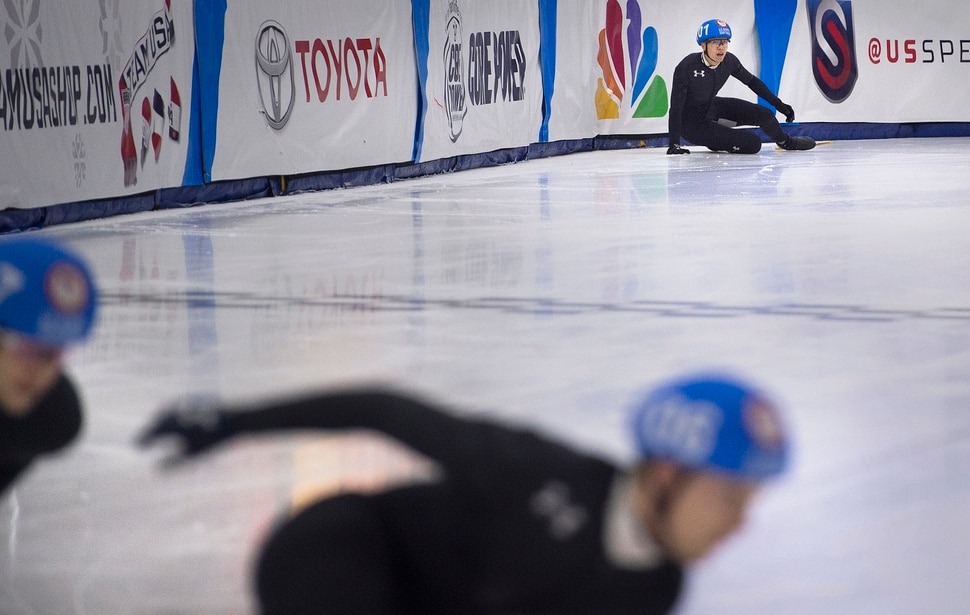 (Scott Sommerdorf | The Salt Lake Tribune) J.R. Celski looks at the other racers after he fell in a 1000 heat during day 3 of the U.S. short-track Olympic Team Trials at the Utah Olympic Oval, Sunday, December 17, 2017.