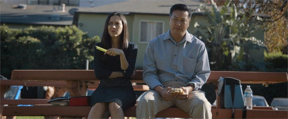 (Photo courtesy of Indie Rights Movies) Coworkers Amelia (Sara Amiri) and Joe (Tom Huang) talk about life and the great outdoors in a scene from the drama