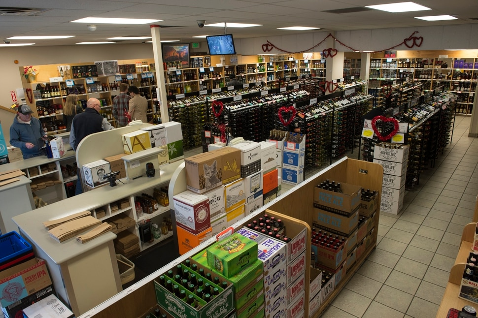 Scott Sommerdorf | The Salt Lake Tribune The state liquor store at 1615 Foothill Blvd. in Salt Lake City, has room for just two checkout lines, Thursday, Feb., 15, 2018.