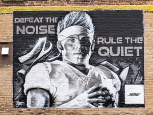 (Rick Egan | The Salt Lake Tribune)  A local artist made a Zach Wilson mural. He will be on standby during the NFL Draft to paint the jersey. Tuesday, April 27, 2021.
