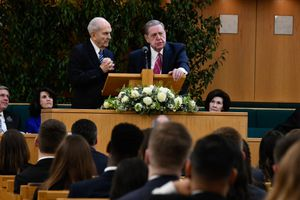(Courtesy LDS Church)  LDS Church President Russell M. Nelson and Apostle Jeffrey R. Holland speak at a devotional Thursday night in London's Hyde Park Chapel.