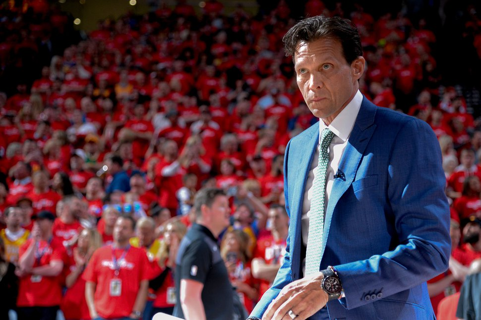 (Francisco Kjolseth   Tribune file photo) Utah Jazz head coach Quin Snyder prior to Game 3 of a first-round NBA basketball playoff series against the Rockets in Salt Lake City, Saturday, April 20, 2019.