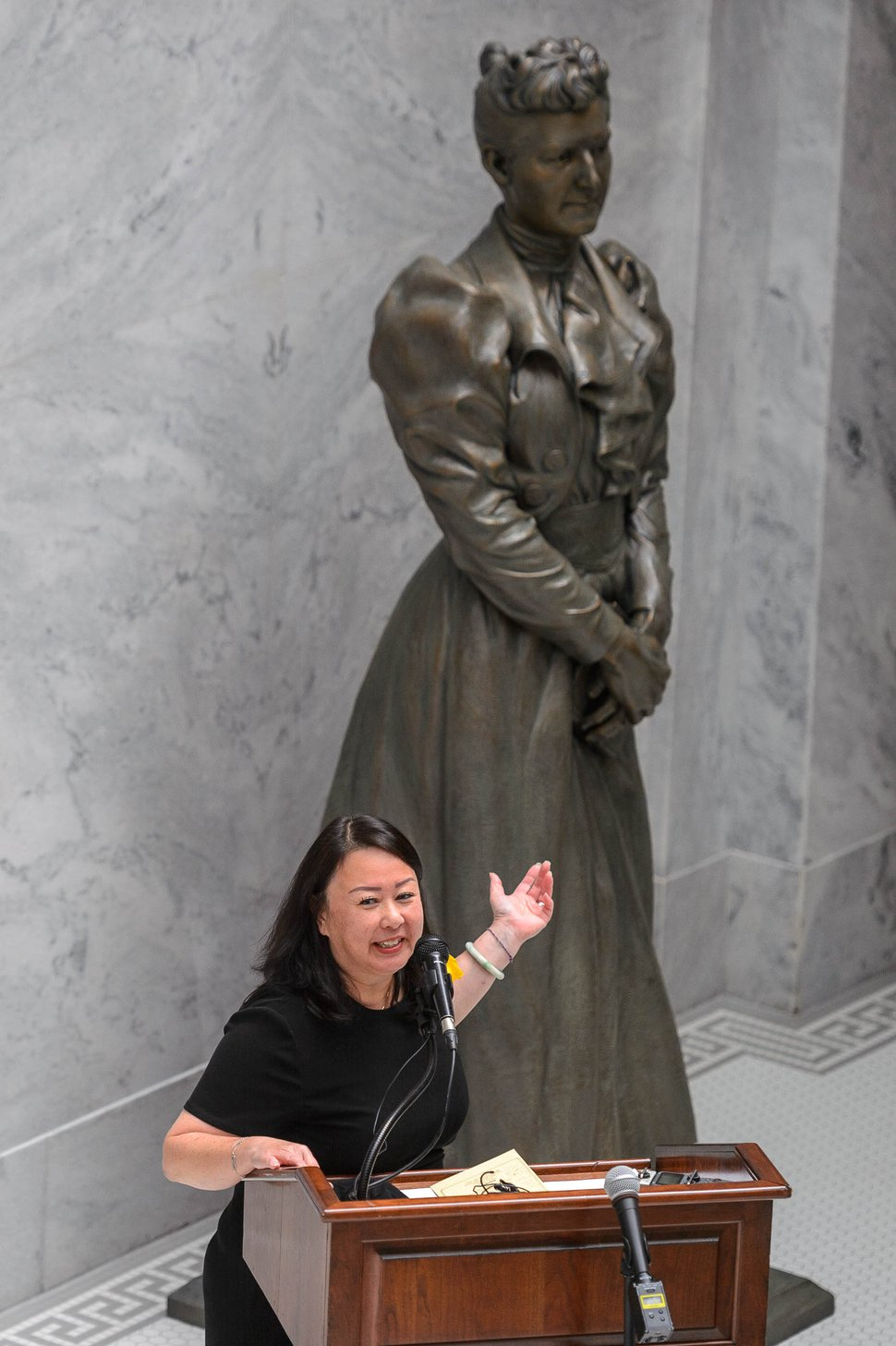 (Trent Nelson | The Salt Lake Tribune) Rep. Karen Kwan, D-Murray, speaks at the unveiling of the Martha Hughes Cannon statue, at the State Capitol in Salt Lake City on Monday, Sept. 14, 2020. The piece will temporarily be on display in the Utah State Capitol until COVID-19 restrictions allow for a ceremony in Washington, D.C.