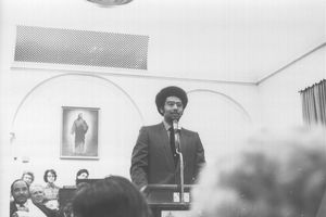 (Courtesy of Darius Gray)  Darius Gray, a counselor in the presidency of the Genesis Group for Black Mormons, speaks in the 1970s.