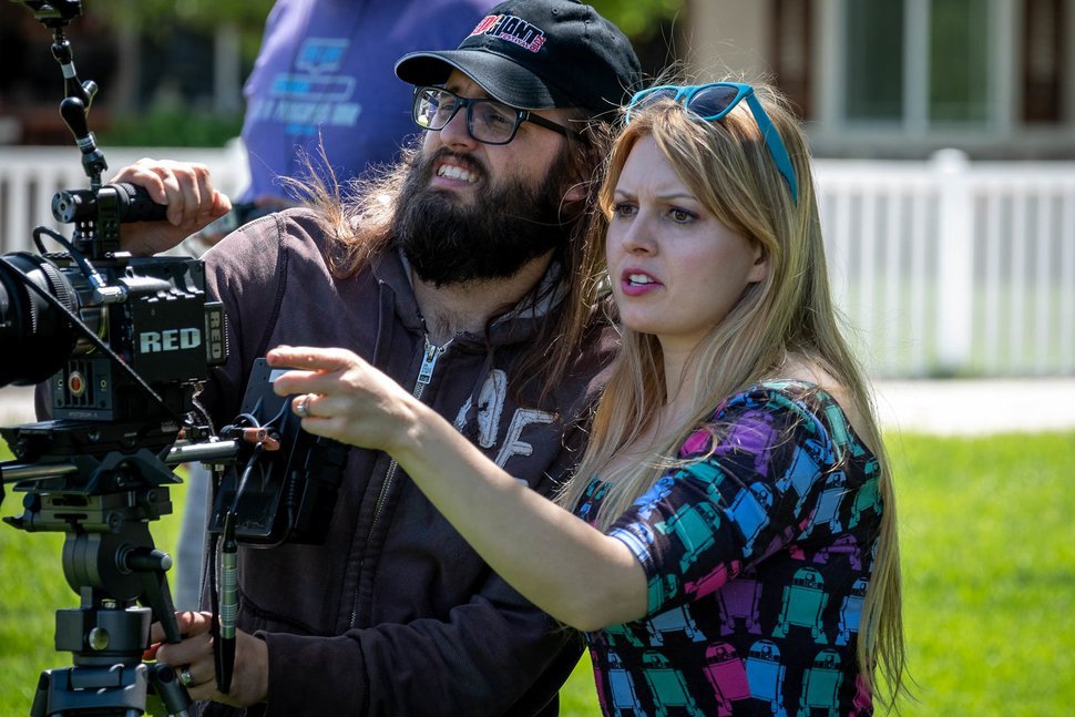 (Danno Nell | Courtesy of S&S Productions) Savannah Ostler, right, directs a scene from her movie