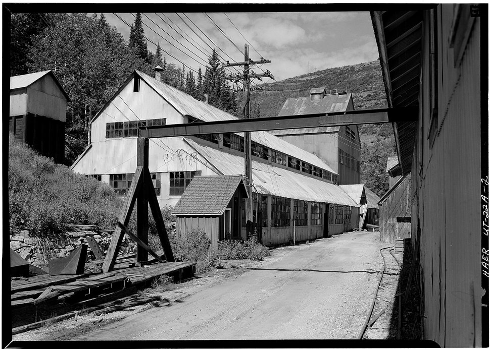 August, 1971. MINE SHAFT BLDG FROM W. - Silver King Mining Company, Mineshaft & Main Hoist, Woodside Gulch, Park City, Summit County, UT