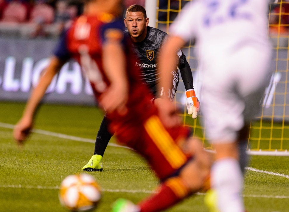 (Trent Nelson | The Salt Lake Tribune) Real Salt Lake goalkeeper Nick Rimando (18) as Real Salt Lake hosts the San Jose Earthquakes, MLS soccer at Rio Tinto Stadium in Sandy on Wednesday Sept. 11, 2019.