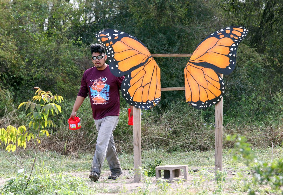 (Delcia Lopez | For the Guardian) An employee at the center waters the native plants at National Butterfly Center on Tuesday Dec. 11, 2018, in Mission.