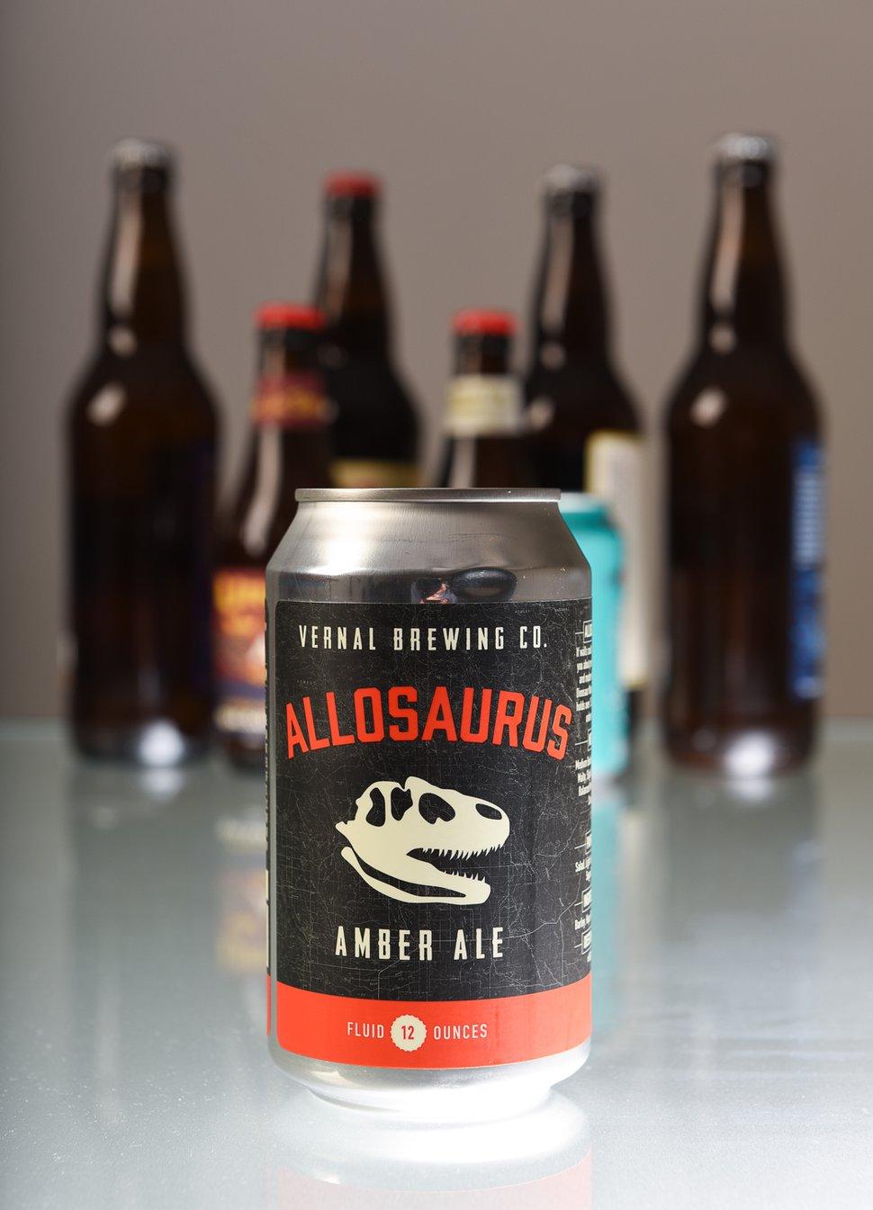 (Francisco Kjolseth | The Salt Lake Tribune) Utah's best beer names. Allosaurus amber ale by Vernal Brewing Co.