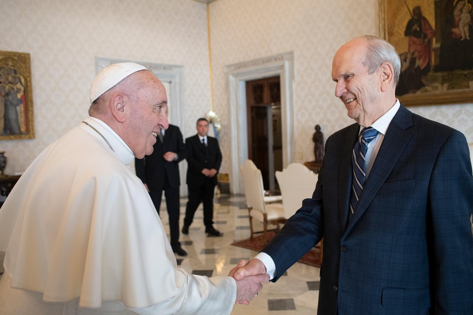 (Photo courtesy of the Vatican) Pope Francis welcomes President Russell M. Nelson to the Vatican on Saturday, March 9, 2019.