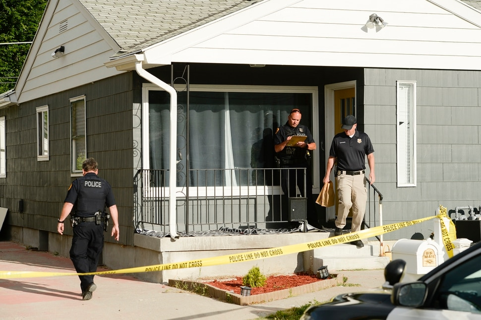(Leah Hogsten | The Salt Lake Tribune) Police investigators conclude their search a home at 547 N. 1000 West in Salt Lake City as part of the disappearance of University of Utah student MacKenzie Lueck, Thursday morning, June 27, 2019.