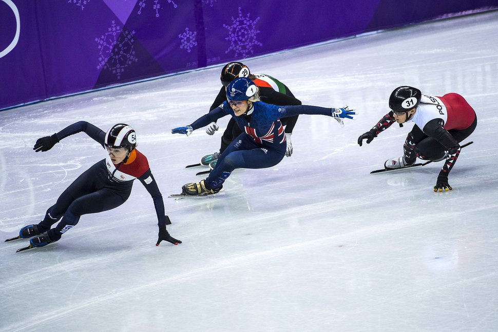 (Chris Detrick | The Salt Lake Tribune) Lara Van Ruijven of the Netherlands, Elise Christie of Great Britain, Andrea Keszler of Hungary and Magdalena Warakomska of Poland race during the Ladies' 1000m Short Track Speed Skating at Gangneung Ice Arena, Pyeongchang 2018 Winter Olympics, Tuesday, Feb. 20, 2018.