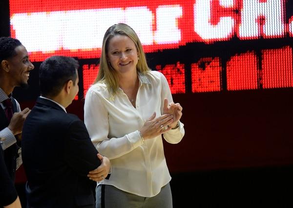 Scott Sommerdorf | The Salt Lake Tribune Utah women's basketball head coach Lynne Roberts smiles during pre game introductions. Utah led Fort Lewis 46-32 at the half, Friday, November 6, 2015.