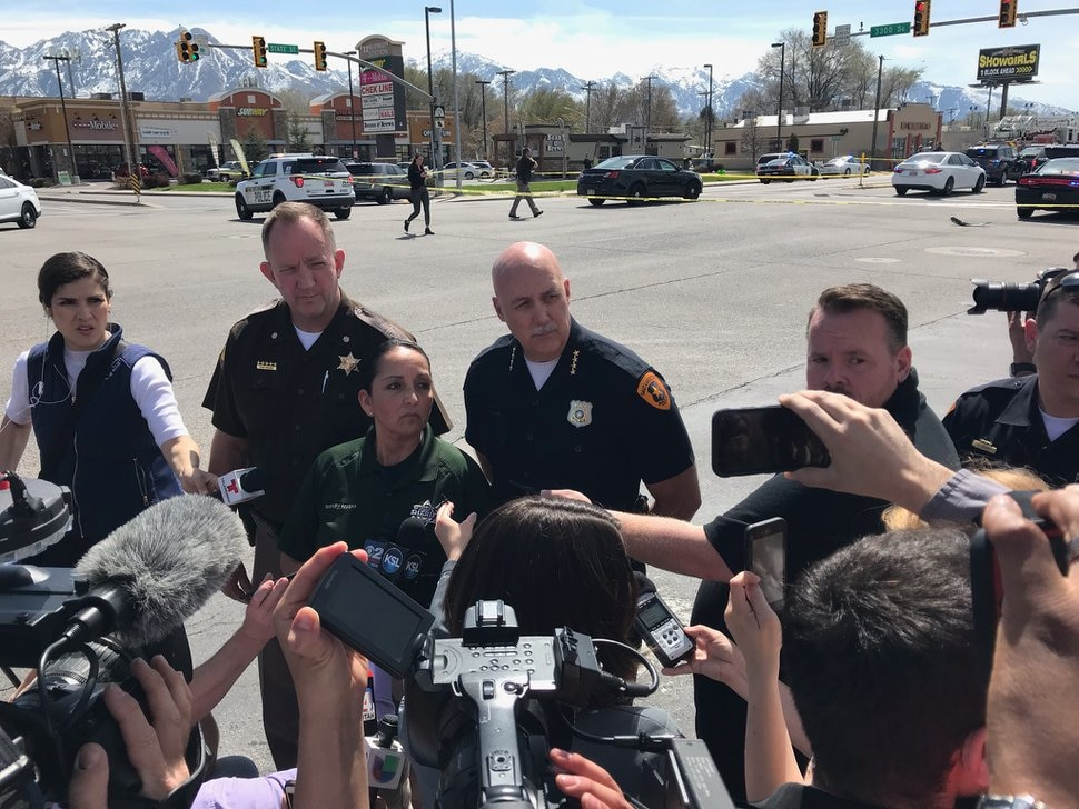 (Nate Carlisle | The Salt Lake Tribune) Utah Highway Patrol Lt. Col. Mark Zesiger (left), Salt Lake County Sheriff Rosie Rivera and Salt Lake City police Chief Mike Brown answer questions from reporters April 8, 2019, at 3300 S. State St. A suspect in two robberies then fired shots in Salt Lake City, leading police on a chase that ended near this location. The suspect died in his confrontation with police.