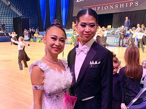 (Photo Courtesy of Yume Honda) Yume Honda, left, stands next to Ayane Matsuda at a ballroom competition at Brigham Young University on Thursday, March 12, 2020.