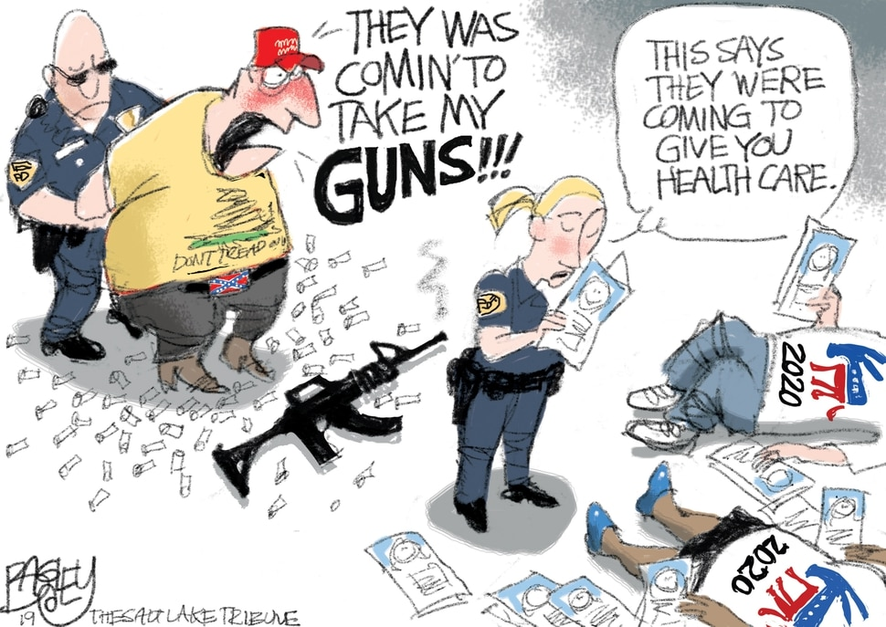 (Pat Bagley | The Salt Lake Tribune) This cartoon, titled Cold Dead Hand, appears in The Salt Lake Tribune on Sunday, Sept. 16, 2019.