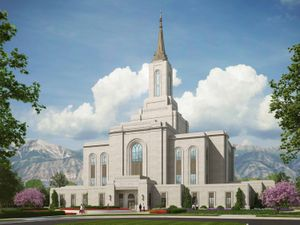 (File rendering courtesy of The Church of Jesus Christ of Latter-day Saints) This artist's rendering shows the exterior of the Orem Temple.