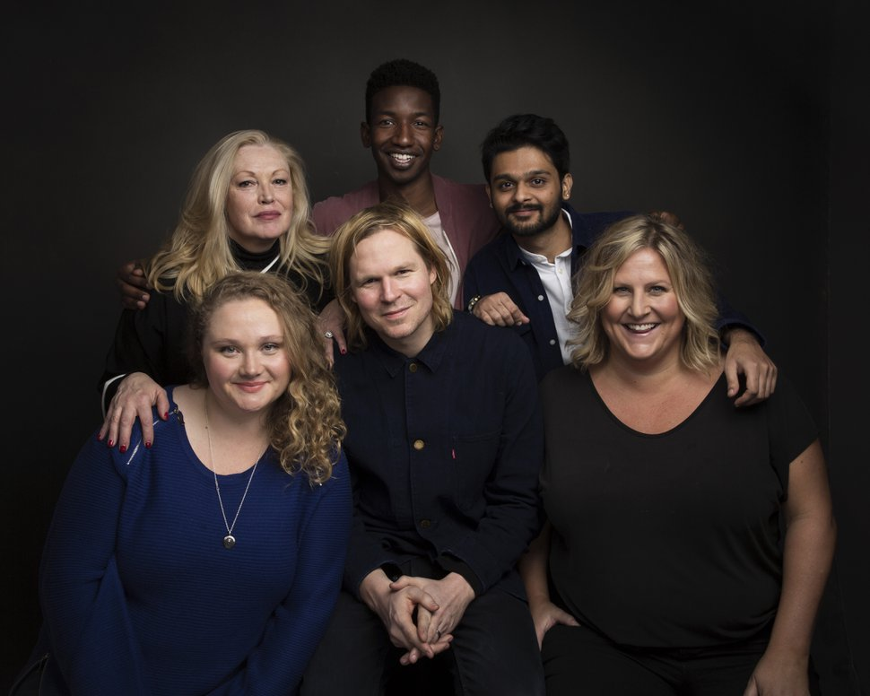 Actress Cathy Moriarty, from top left, actor Mamoudou Athie, actor Siddharth Dhananjay, actress Danielle Macdonald, from bottom left, writer/director Geremy Jasper and actress Bridget Everett pose for a portrait to promote the film,