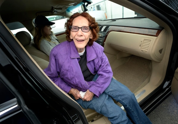 (Scott Sommerdorf | The Salt Lake Tribune) Ninety year old Trudy Joseph was all ready to go skydiving, Saturday, September 23, 2017, but was thwarted by bad weather. She intends to try again.