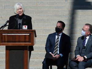 (Francisco Kjolseth  | The Salt Lake Tribune) Former Utah Jazz owner Gail Miller joins House Speaker Brad R. Wilson, R-Kaysville, and Senate President Stuart Adams, R-Layton, along with other members of the philanthropic community gathered outside the Capitol on Wednesday, March 3, 2021, to discuss legislation and announce a public-private partnership to help address homelessness and affordable housing.