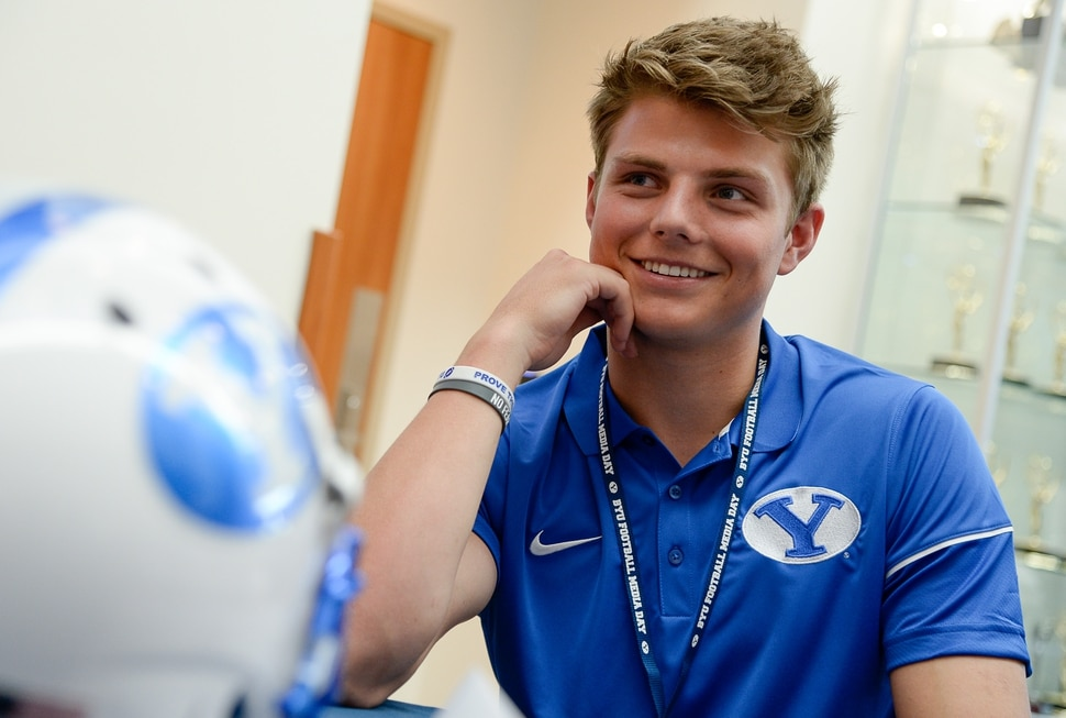 (Francisco Kjolseth | The Salt Lake Tribune) Quarterback Zach Wilson runs through numerous interviews during BYU football media day at the BYU Broadcasting Building in Provo on Tuesday, June 18, 2019.