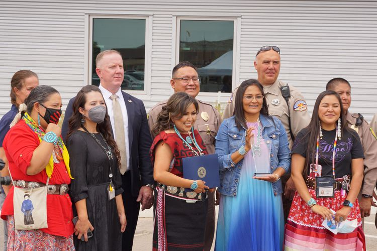 (Zak Podmore | The Salt Lake Tribune) Navajo Nation Council Delegate Amber Kanazbah Crotty (front, left) stands beside Jessica Holiday, Danialle Whitehat, Lynn Bia and Tonya Grass, victim advocates for the Utah Navajo Health System, who received a community leadership award from the Federal Bureau of Investigation in Montezuma Creek on Wednesday, July 14, 2021.