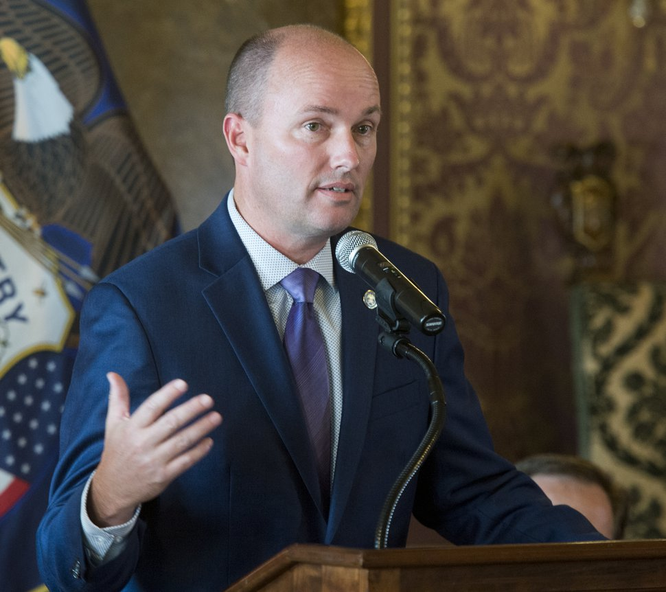 (Rick Egan | The Salt Lake Tribune) Lt. Gov. Spencer Cox speaks during a news conference about the National Suicide Prevention Hotline Improvement Act being signed into law. Tuesday, Aug. 21, 2018.
