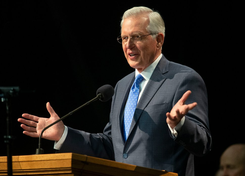 (Photo courtesy of The Church of Jesus Christ of Latter-day Saints) Apostle D. Todd Christofferson speaks to young adults at Utah Valley University in Orem on Jan. 12, 2019.