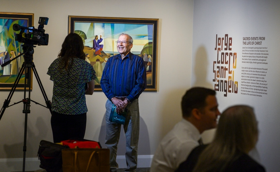 (Leah Hogsten | The Salt Lake Tribune) Jorge Cocco Santá‡ngelo is interviewed during the opening of his show Sacred Events from the Life of Christ. The Church of Jesus Christ of Latter-day Saints Church History Museum presented two new art exhibits, Thursday, May 17, 2018. Paintings created by Argentine artist Jorge Cocco Santá‡ngelo and large-scale images taken by LDS Church staff photographers Cody Bell and Leslie Nilsson will be on display beginning May 17 through Oct. 9, 2018, and January 2019, respectively.