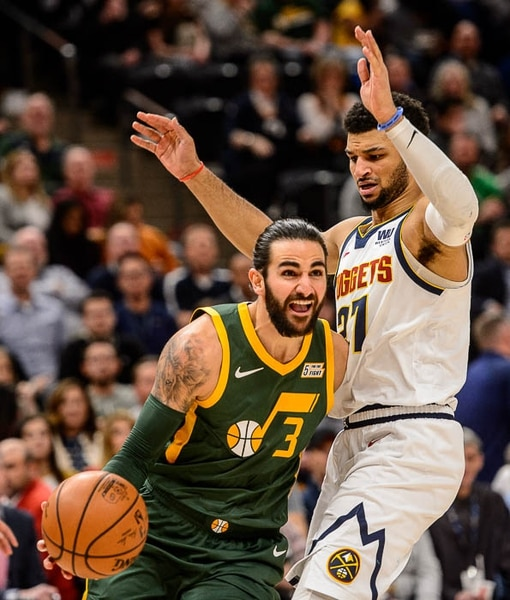 (Trent Nelson | The Salt Lake Tribune) Utah Jazz guard Ricky Rubio (3) and Denver Nuggets guard Jamal Murray (27) as the Utah Jazz host the Denver Nuggets, NBA basketball in Salt Lake City on Wednesday Jan. 23, 2019.