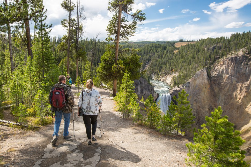 Exploring the South Rim Trail with a view of the Grand Canyon of the Yellowstone.