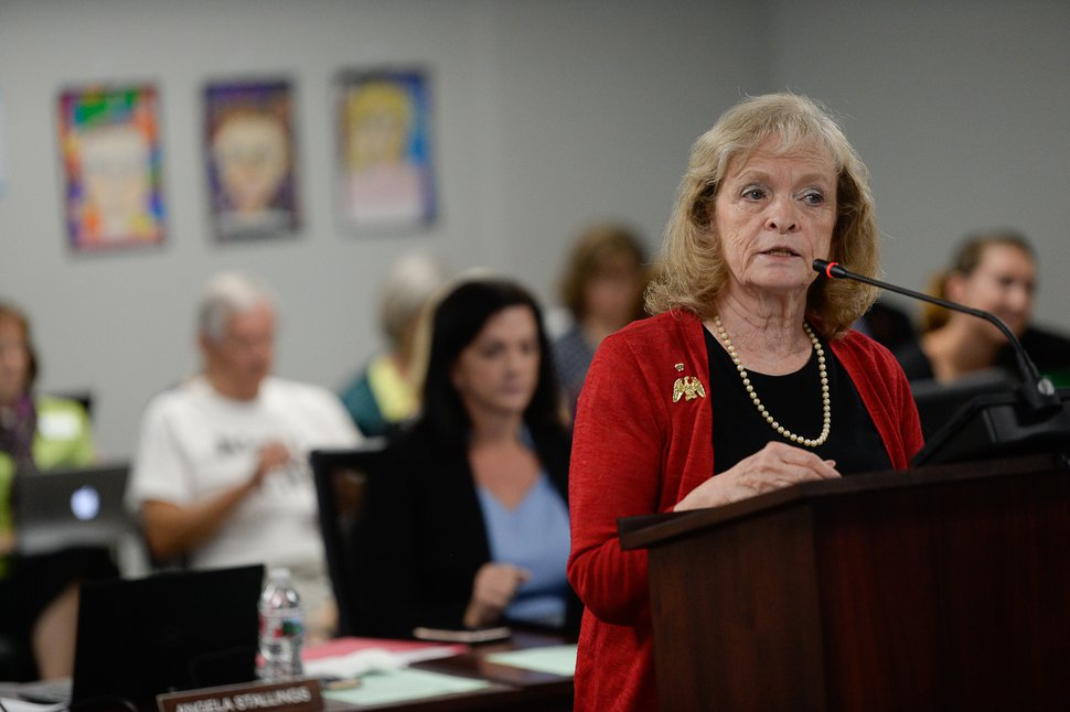 (Francisco Kjolseth | The Salt Lake Tribune) Gayle Ruzicka, political activist and leader of the conservative Utah Eagle Forum is joined by supporters as they