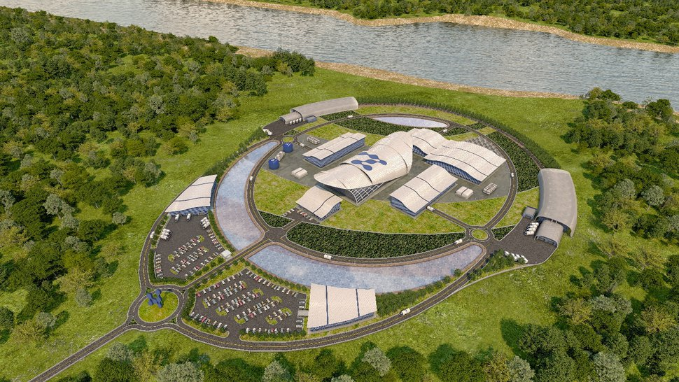 (Photo courtesy of NuScale) An artist's rendering of NuScale Power's proposed small modular nuclear reactor plant, which will be located at Idaho National Laboratory in Idaho.