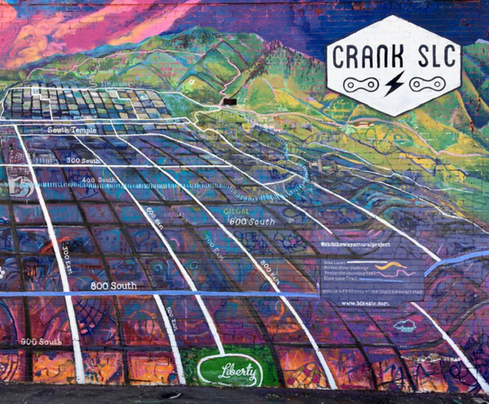 ( The Salt Lake Tribune ) The western side of Utah artist Chris Peterson's Crank SLC map mural at 749 S. State Street in Salt Lake City.