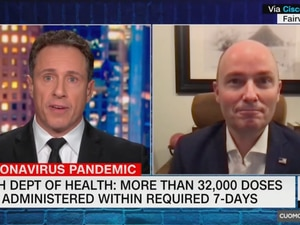 (Screenshot from CNN) Governor Spencer Cox, right, appeared on Chris Cuomo Primetime on CNN Thursday, Jan. 22, 2021 to discuss Utah's COVID-19 vaccine backlog.