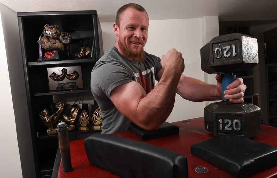 (Francisco Kjolseth | The Salt Lake Tribune) Rising armwrestling star Jordan Sill of Layton who competes in the 210 lbs weight class and started competing 15 years ago when he won his first trophy, has been ascending the World Armwrestling League as he heads to Norfolk, Virginia this week to compete in the Super Star Showdown Series.