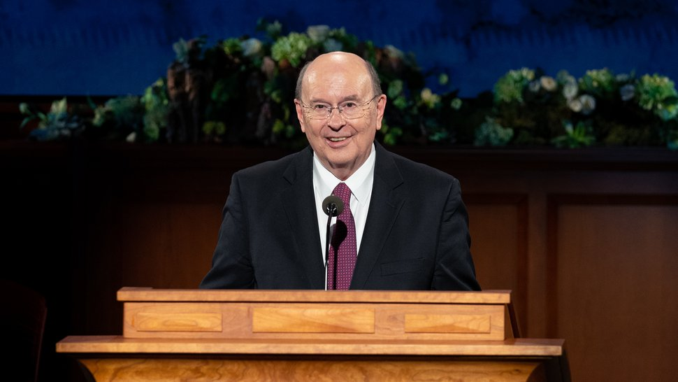 (photo courtesy The Church of Jesus Christ of Latter-day Saints) Elder Quentin L. Cook speaks during the Sunday afternoon session of General Conference on April 5, 2020.