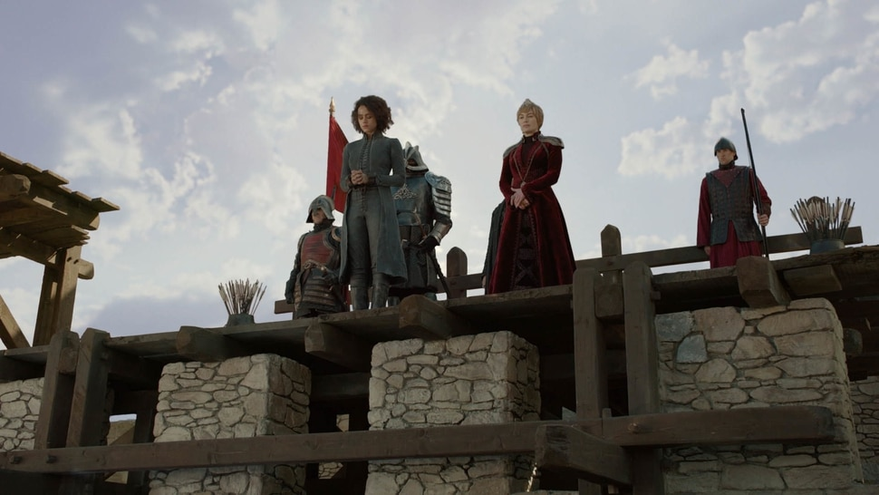 "(Photo courtesy HBO) Nathalie Emmanuel as Missandei, Hafþór Júlíus Björnsson as Gregor ""The Mountain"" Clegane"" and Lena Headey as Cersei Lannister in the ""Game of Thrones"" episodes ""The Last of the Starks."""
