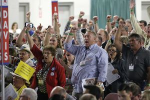 FILE - In this April 23, 2016, file photo, delegates cheer during the Utah Republican Party 2016 nominating convention in Salt Lake City. Utah's Republican Party is pressing on with a legal battle that's divided the state GOP and will argue before a Denver-based appeals court Monday, Sept. 25, 2017, that a state candidate nominating law violates its rights. (AP Photo/Rick Bowmer, File)