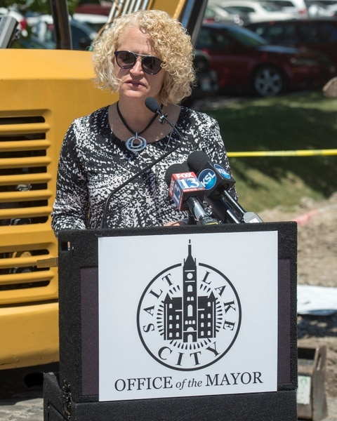 (Rick Egan | The Salt Lake Tribune) Salt Lake City Mayor Jackie Biskupski announces the start of the city's 2018 road construction season at a new conference at 720 South Gladiola Street. A total of ten projects are scheduled for completion by the City's Engineering Division through a combined investment of $5 million. Monday, June 11, 2018.