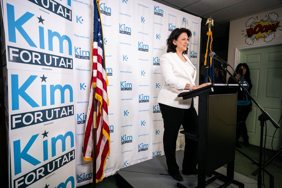 (Trent Nelson   The Salt Lake Tribune) Kim Coleman announces her candidacy to represent Utah's 4th Congressional District, in West Jordan on Saturday, Jan. 4, 2020.