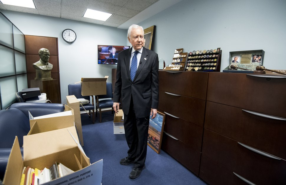 UNITED STATES - DECEMBER 11: Sen. Orrin Hatch, R-Utah, speaks with Roll Call in his office on Dec. 11, 2018, as he prepares to depart the U.S. Senate. (Photo By Bill Clark/CQ Roll Call) (CQ Roll Call via AP Images)
