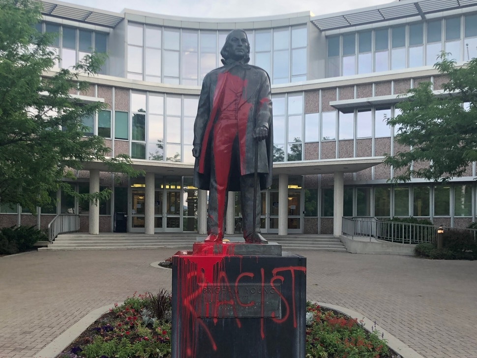 (Photo courtesy of BYU Police) Pictured is the statue of Brigham Young on campus that was painted red on June 14 or 15, 2020.
