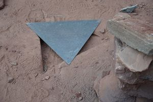 (Zak Podmore | The Salt Lake Tribune) After disappearing sometime Friday night, the triangular top of the now-famous obelisk in San Juan County and a hole in the ground were all that was left of what quickly became an international fixation. November 28, 2020.